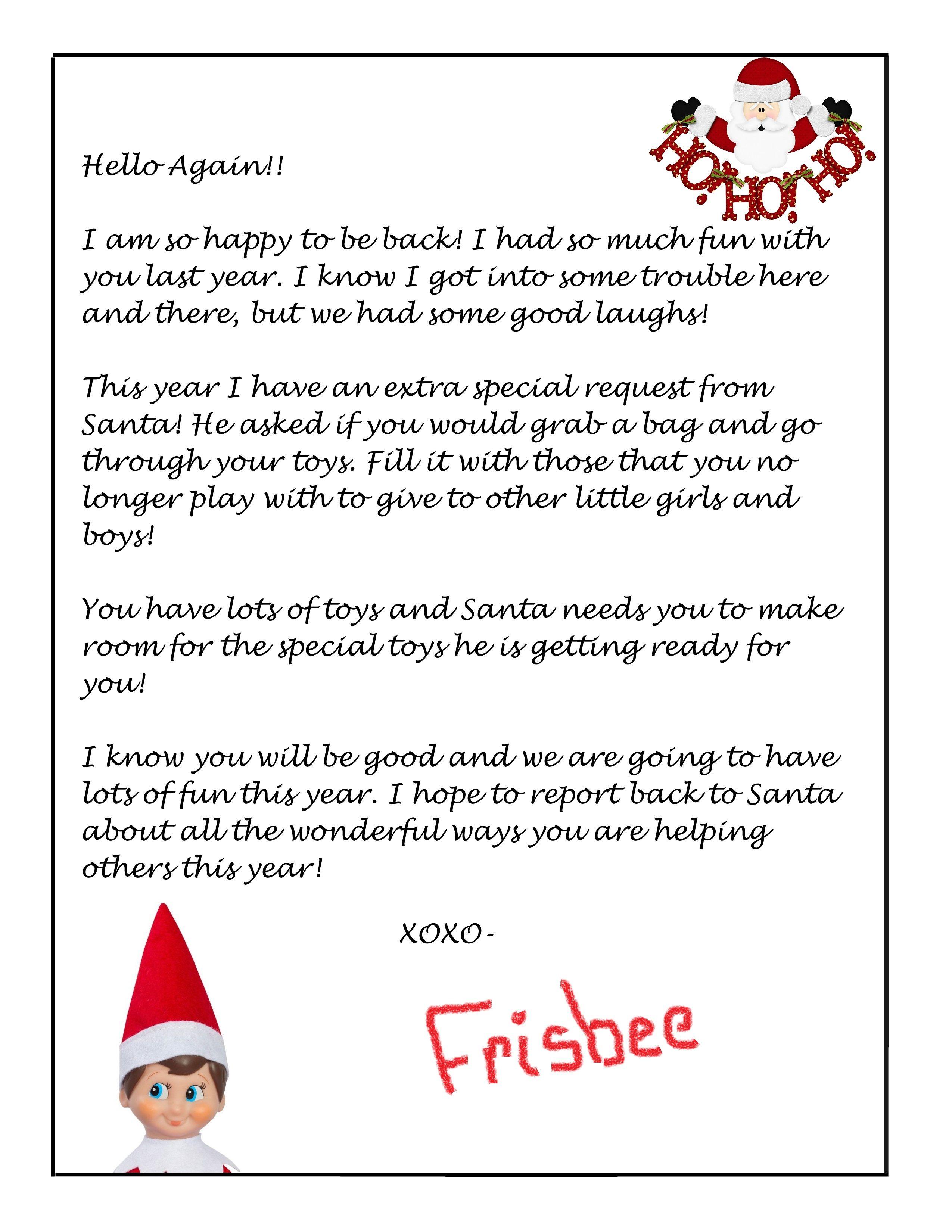Elf on the Shelf Free Donation Letter Printable Elf on