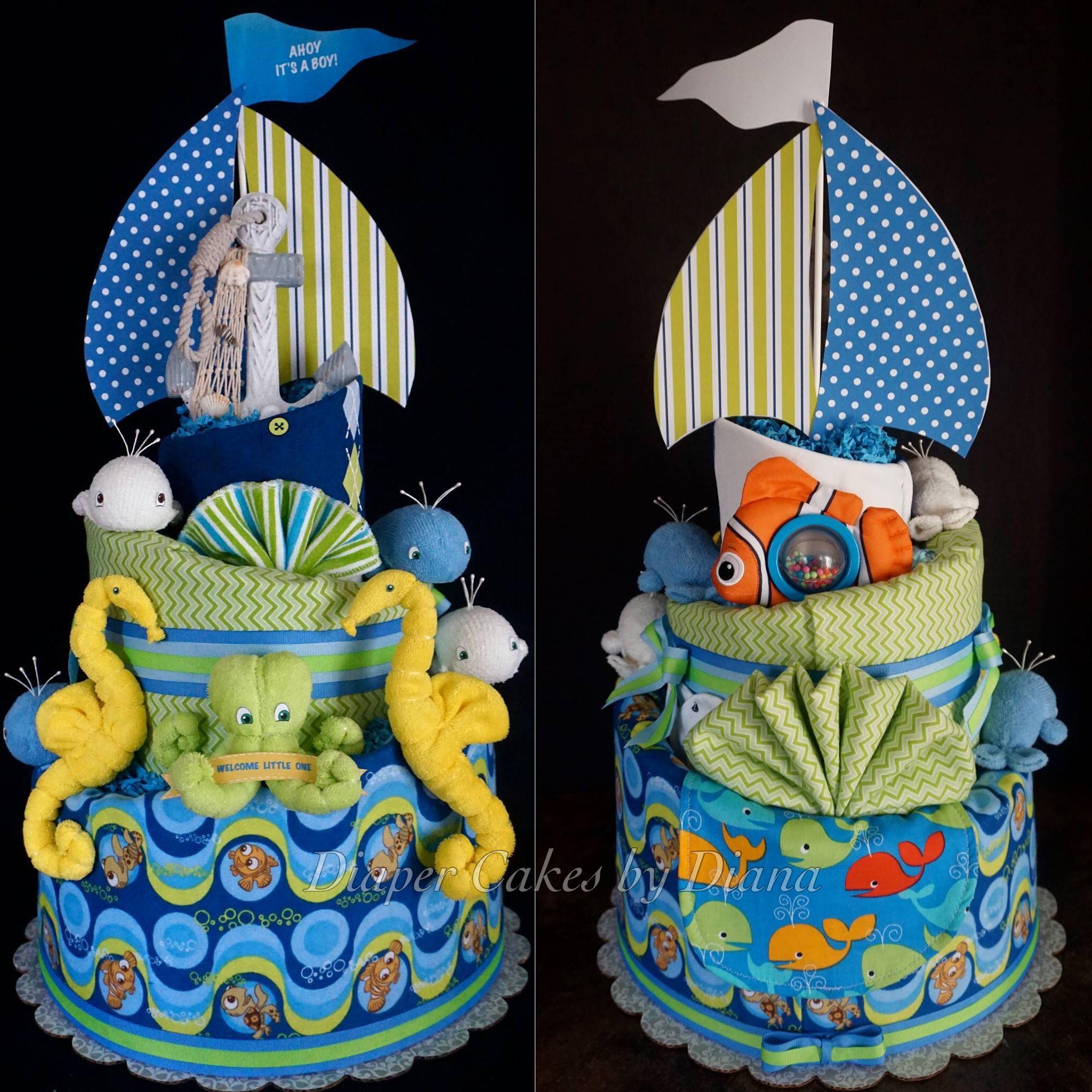 Under the Sea/Nemo themed diaper cake www.facebook.com/DiaperCakesbyDiana