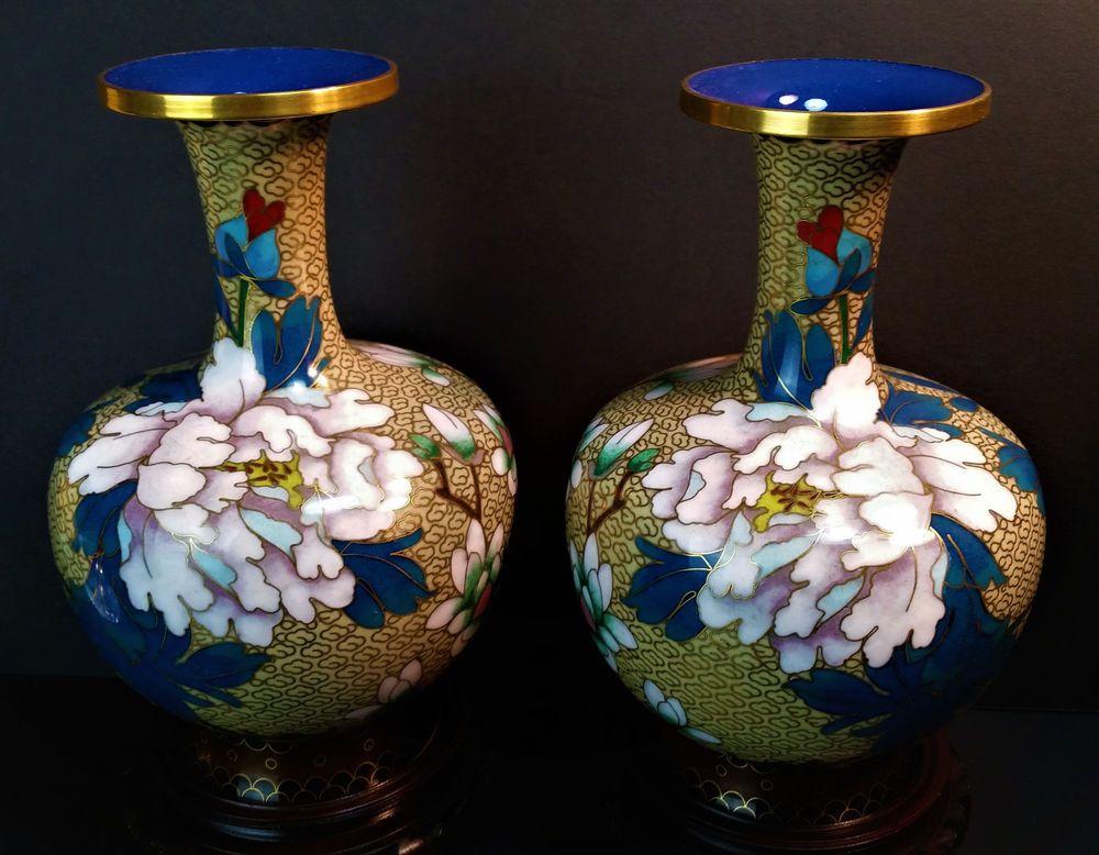 Chinese Cloisonne Pair Vases Vintage Brass Enamel Flowers Rosewood