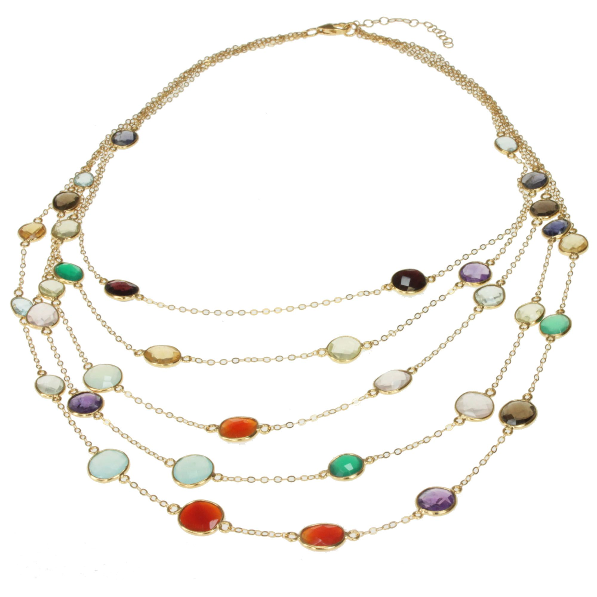 gemstone multi chunky baker products necklace unusual jewellery length choker fossil colourful franki