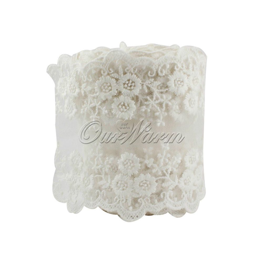 "Pearl Shimmer 3/"" Vintage Wedding Bridal 80mm Wide  Ivory Lace Ribbon Organza"