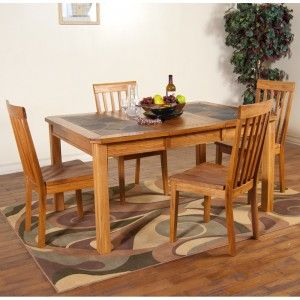 Sedona Slate Top Dining Table Chairs In Rustic Oak By Sunny