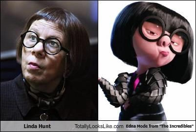 Even thought I know in my heart of hearts, Edna is voiced by Brad Bird, creator of The Incredibles, I always, always, always picture Linda Hunt when I see Edna!