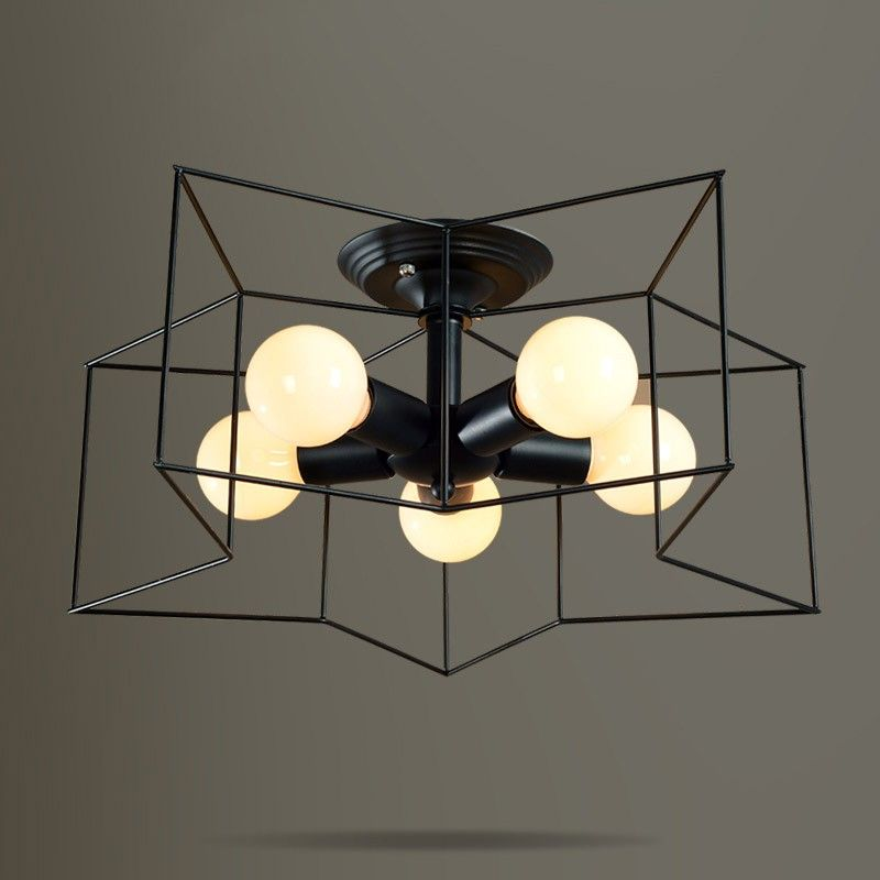 Modern style metal star shaped cage 5 light blackwhite semi flush modern style metal star shaped cage black semi flush mount ceiling light adding a decorative lighting element to a modern contemporary or industrial style mozeypictures Gallery