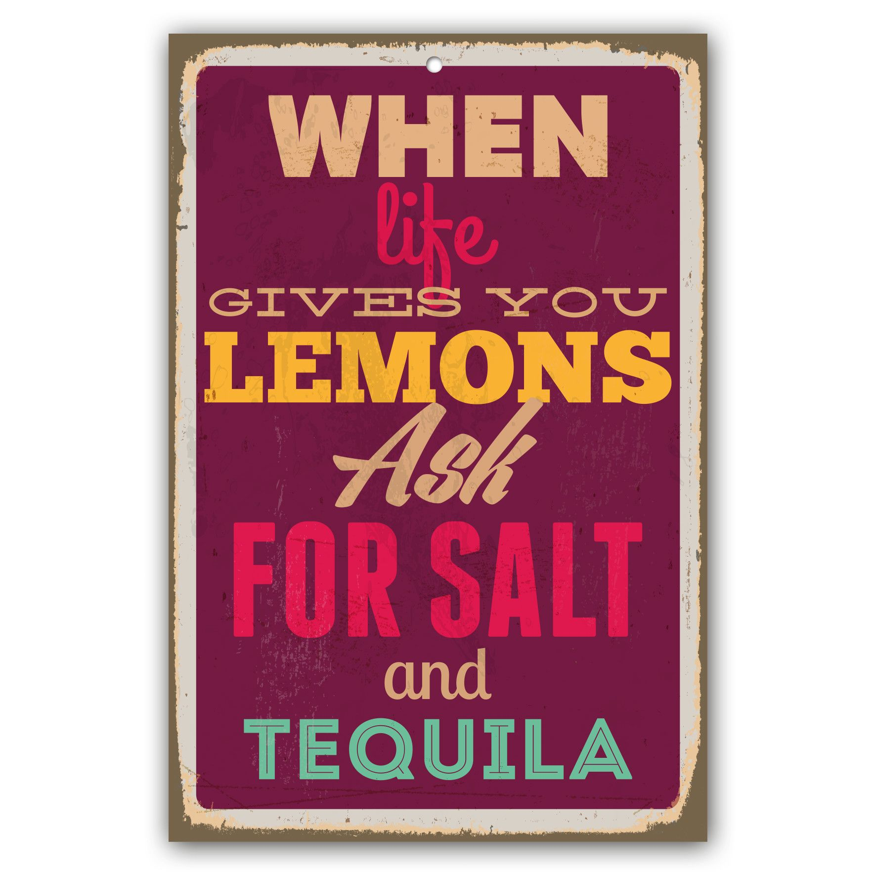 Wohnzimmeruhr Vintage When Life Gives You Lemons Ask Salt And Tequila Vintage