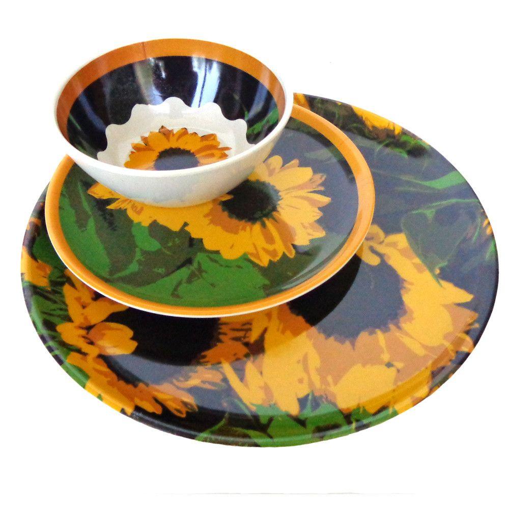 Molded Bamboo® Sunflower Dinnerware Set – 12 Piece | Outdoor ...