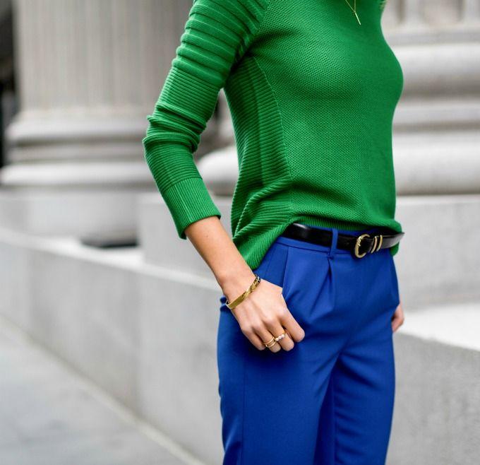 e90ba5fead True Colors  Kelly Green Sweater   Cobalt Blue Track Pants - MEMORANDUM