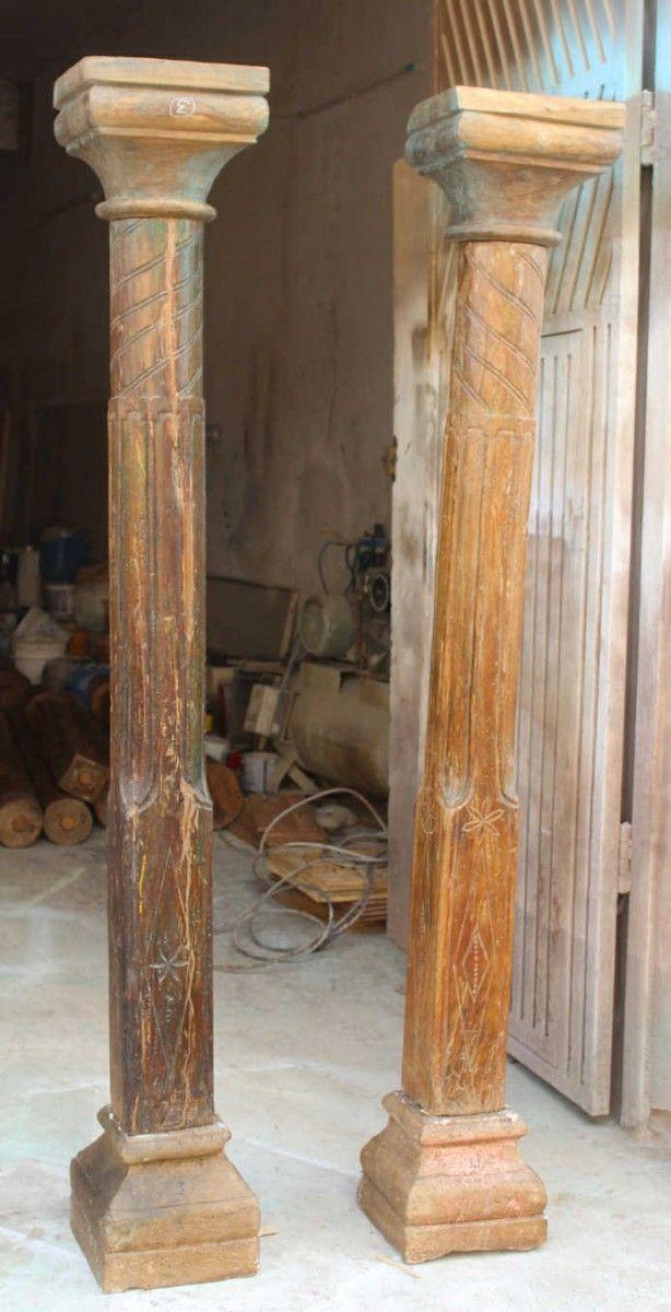 Indian Wooden Pillar Pair Old Indian Doors And