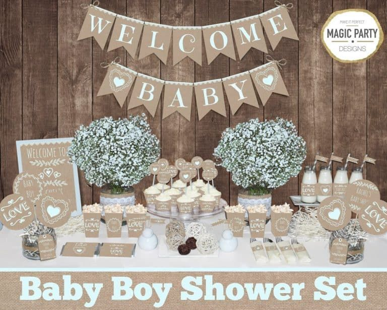 Guide To Baby Shower Themes For Boys From Traditional To Modern Burlap Baby Showers Rustic Baby Shower Decorations Bridal Shower Decorations Rustic