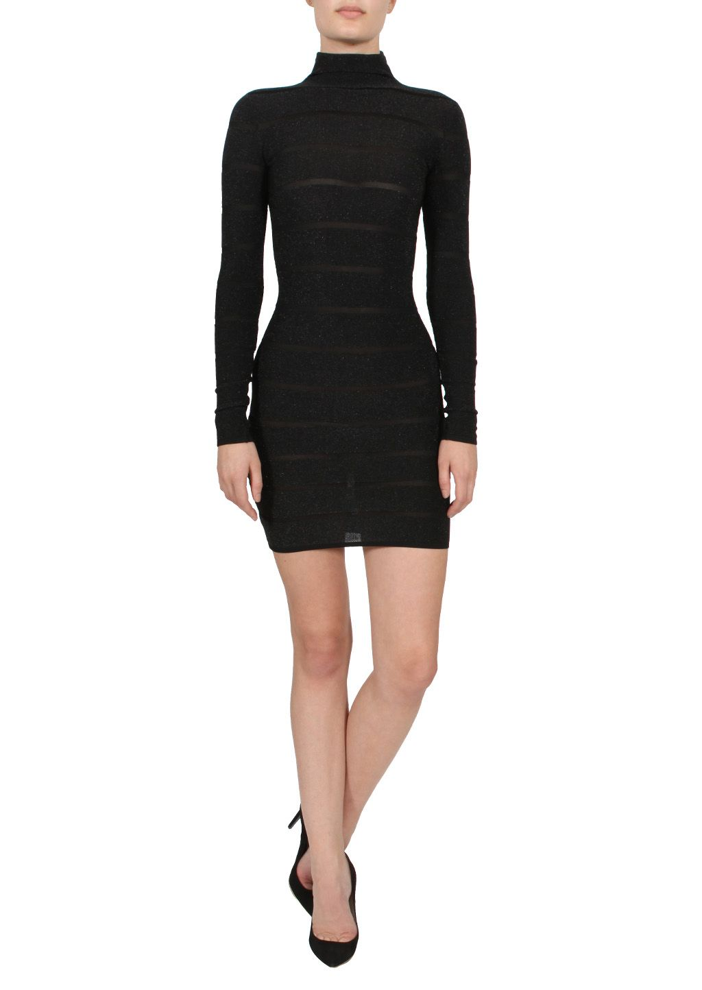 Balmain Dresses :: Balmain black lamé knit striped dress | Montaigne Market
