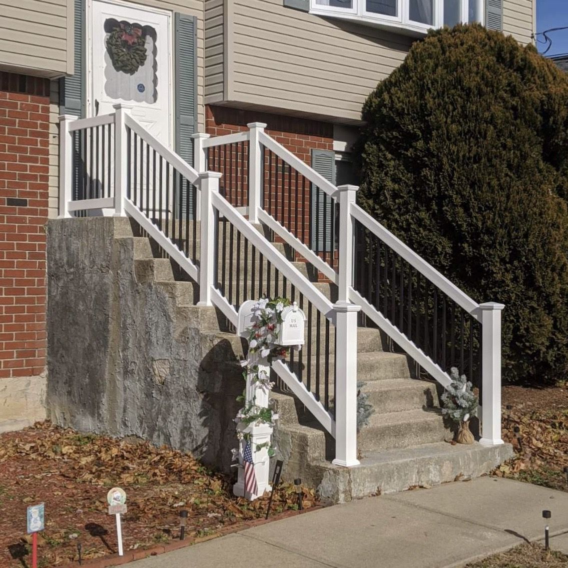 36 White Vinyl Black Aluminum Stair Railings Railings Outdoor | Black Aluminum Stair Railing | Interior | Classic | Simple | Square Metal | Pressure Treated Deck Black