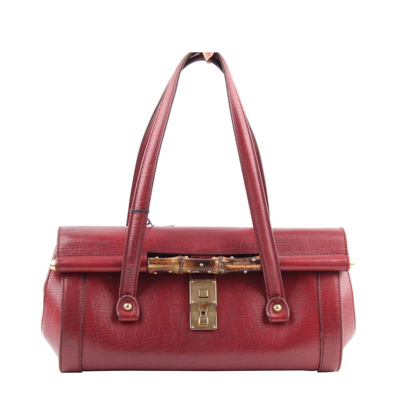 a6bf323bce36ea GUCCI Burgundy Leather BULLET BAG Handbag TOM FORD ERA Satchel w/ BAMBOO    From a