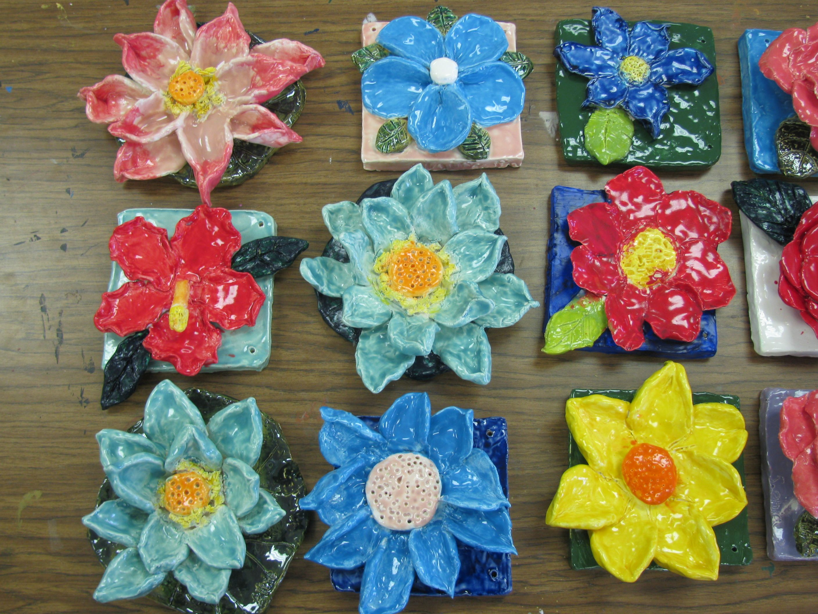 Ceramic flower sculptu...