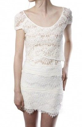 Robe blanche dentelle the kooples