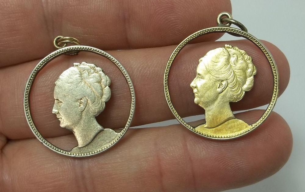 99 Cent Auction Pair Netherlands Cut Out 1 Gulden Silver Coin Pendants