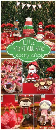 An adorable Little Red Riding Hood woodland themed girl birthday party with amazing decorations! See more party planning ideas at CatchMyParty.com!