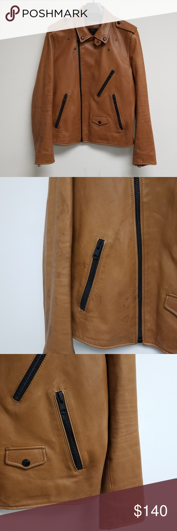 Coach Tan Cow Leather Zip Up Jacket Size M Jackets