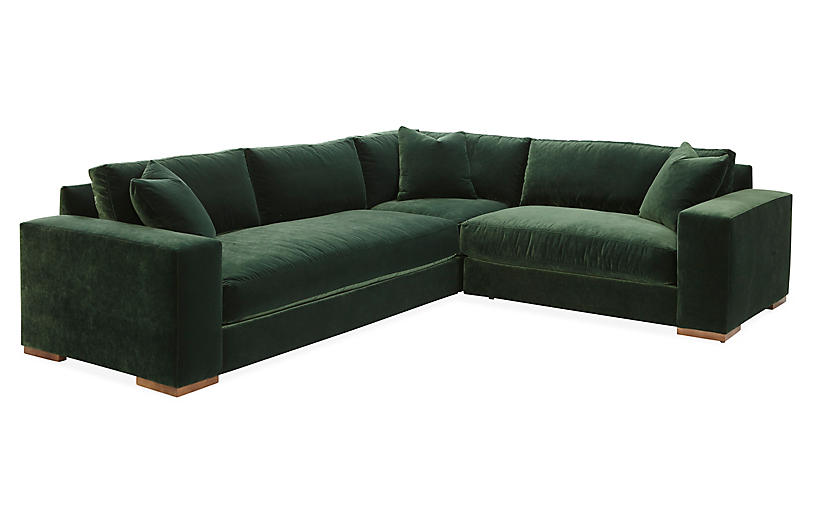 Maddox Right Facing Sectional Forest Green Velvet Sofas