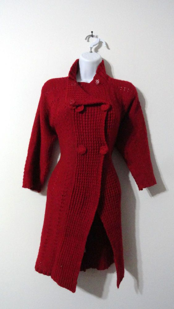 KiKit Red Sweater Jacket Coat Cardigan Buttons Long Sweater Small ...