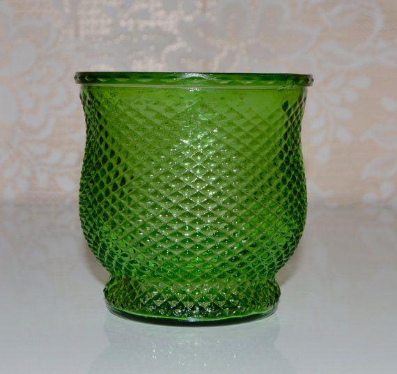 Green Flower Vase Bowl Diamond Pattern E O Brody Green By Wvpickin