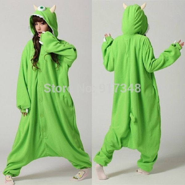 a2cf692f5fc5 Monster University Mike Wazowski Cosplay Onesie Costume Fleece Jumpsuit