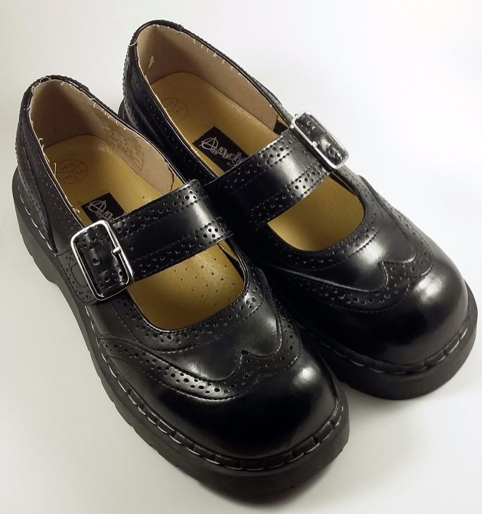 Anarchic By Tuk Women S Shoe S Black Leather Brogue Mary Janes 10 M Black Shoes Women Leather Brogues Shoes Black Leather