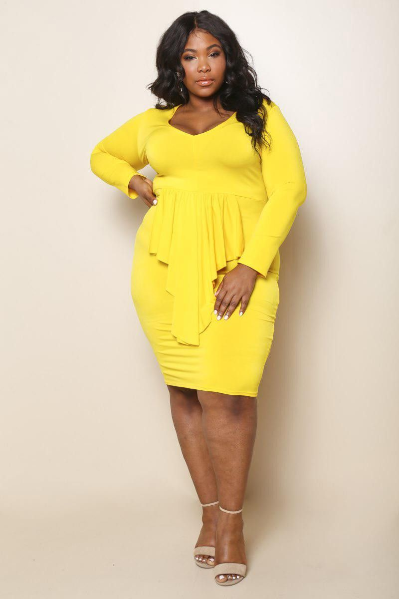 3513bc7e271 Yellow Party Starter Plus Size Bodycon Dress