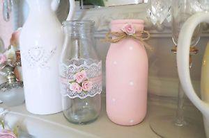 VINTAGE-Shabby-Chic-Set-Di-2-bottiglie-di-latte-in-vetro-decorato-rosa-Rose-Lace-Dot-Bow