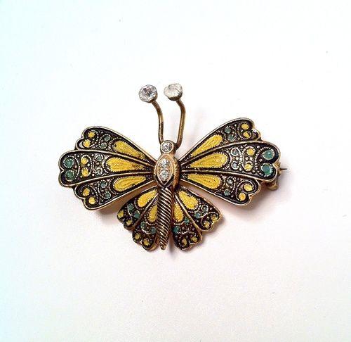 Vintage 1960s Damascene Butterfly Brooch