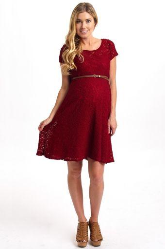 2e8c804dbbc Burgundy Lace Belted Maternity Dress