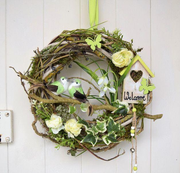 Photo of Door wreaths – bird couple door wreath – a unique product by Sotilala on DaWa …