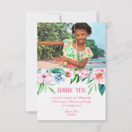 Tropical Floral Hawaiian Birthday Pink Photo Thank You Card | Zazzle.com #tropicalbirthdayparty