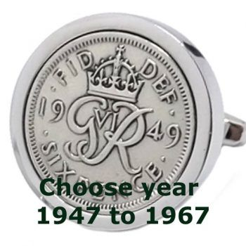 Unusual Lucky Sixpence Silver Coin Mens Birthday Gift Year Cufflinks Original Coins In Plate By