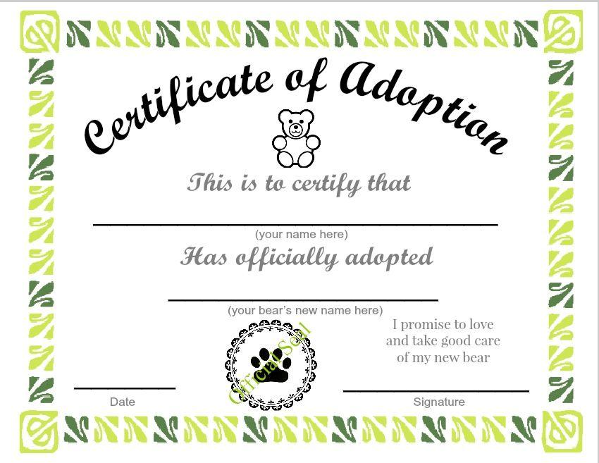 Adopt A Pet Teddy Bear Adoption Certificate Lifes Just Because