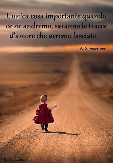 The only thing of importance, when we depart, will be the traces of love we have left behind. -  Albert Schweitzer