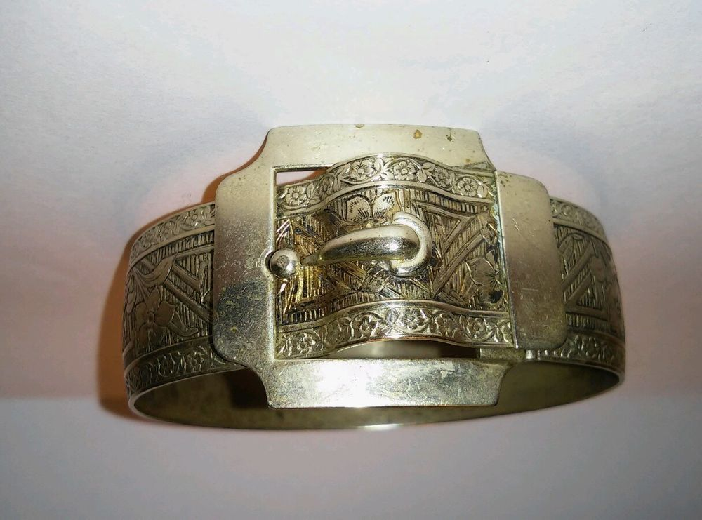 Vintage Art Deco Silver Tone Etched Wide Belt Buckle Double Hinged Bracelet #Bangle