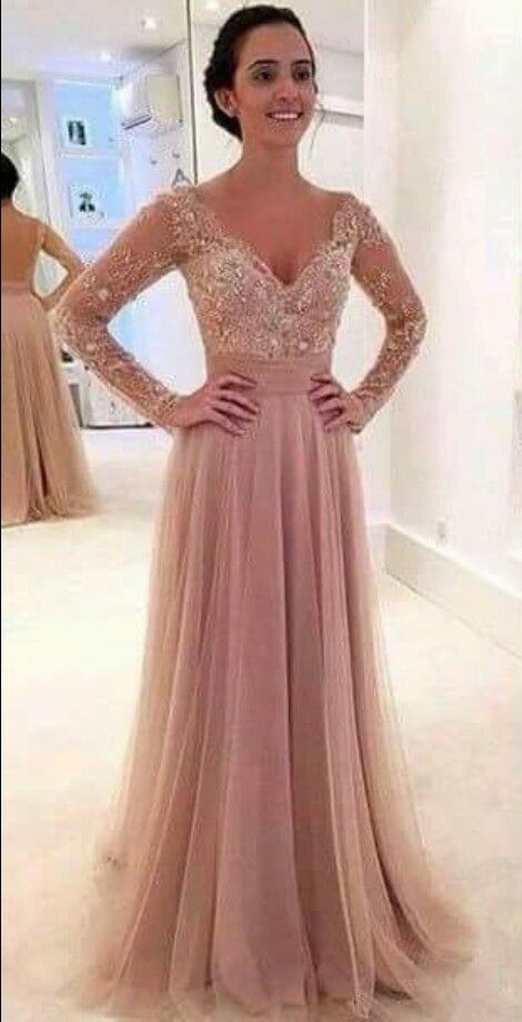 Long Dress Rosa Palo Color 2016 Vestido De Baile