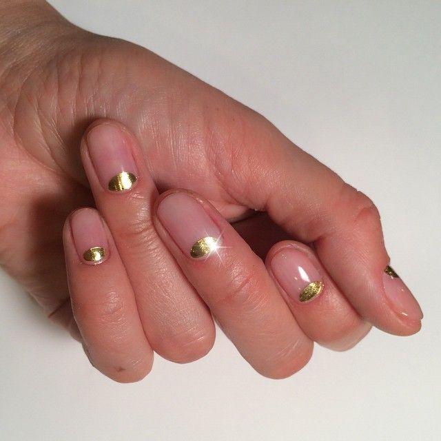 Golden half moons. | Nail Polish Party | Pinterest | Moon nails ...