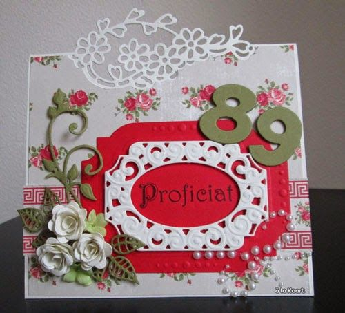 Card made by DT member Anita with among others Craftables Folding Die Flowers (CR1270), Creatables Oval Label (LR0309) and Collectables Numbers (COL1347) by Marianne Design