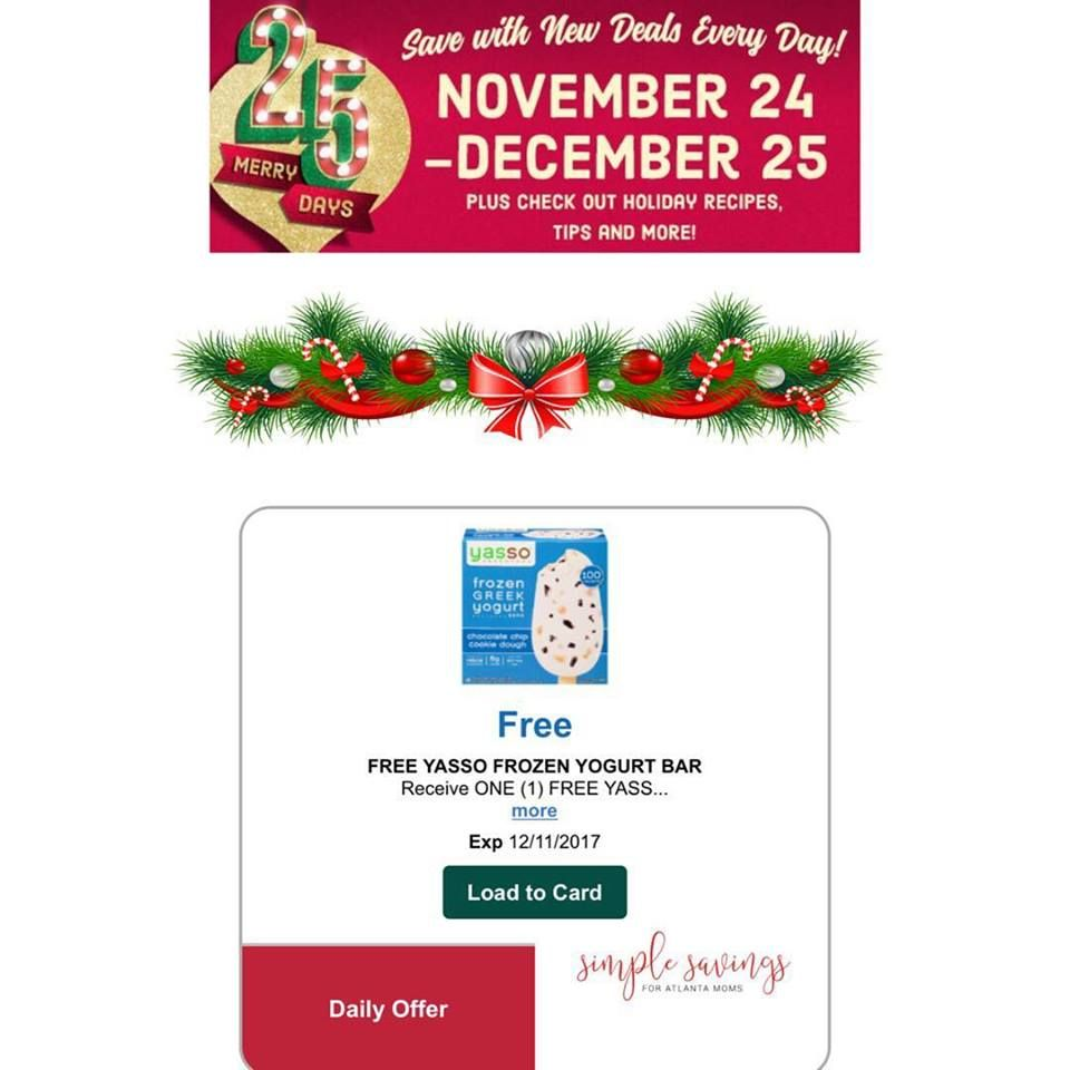 Kroger 25 Merry Days Savings: FREE Yasso Frozen Greek Yogurt (Add ...