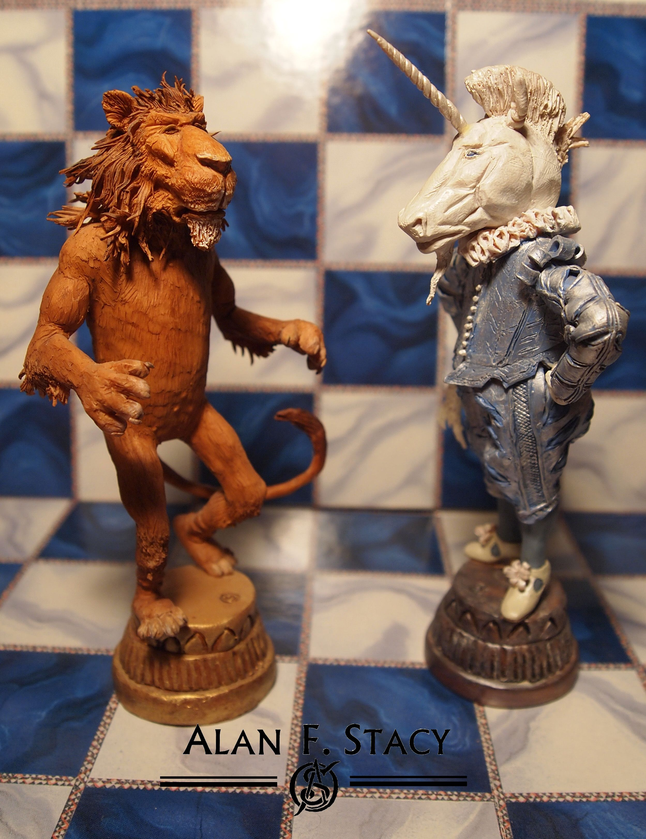 """The Lion and the Unicorn"" from ""Through the Looking Glass"" by Lewis Carroll based on the illustrations by John Tenniel; each figure about 5 inches tall, made from Super Sculpey."