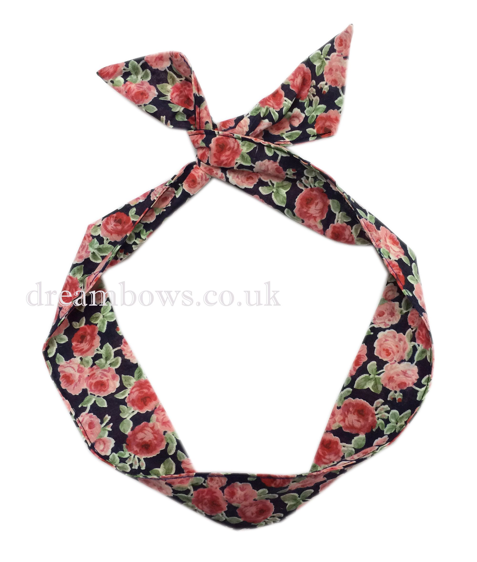 www.dreambows.co.uk Navy blue and pink floral fabric bendy wire ...