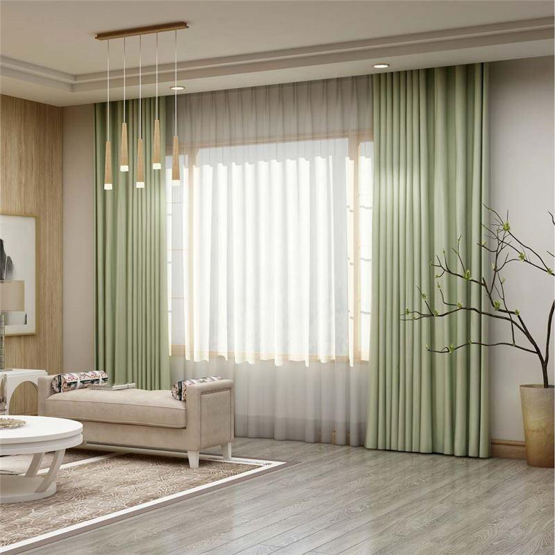 Solid Light Green Curtain Modern Silk Imitation Curtain Living Room Bedroom Blackout Fabric One Panel Green Curtains Living Room Light Green Curtains Light Green Rooms