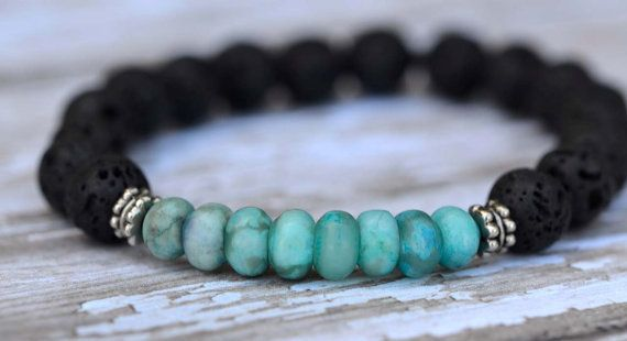 Black Lava Rock Textured Jasper Turquoise Silver by Cheshujewelry, $24.00