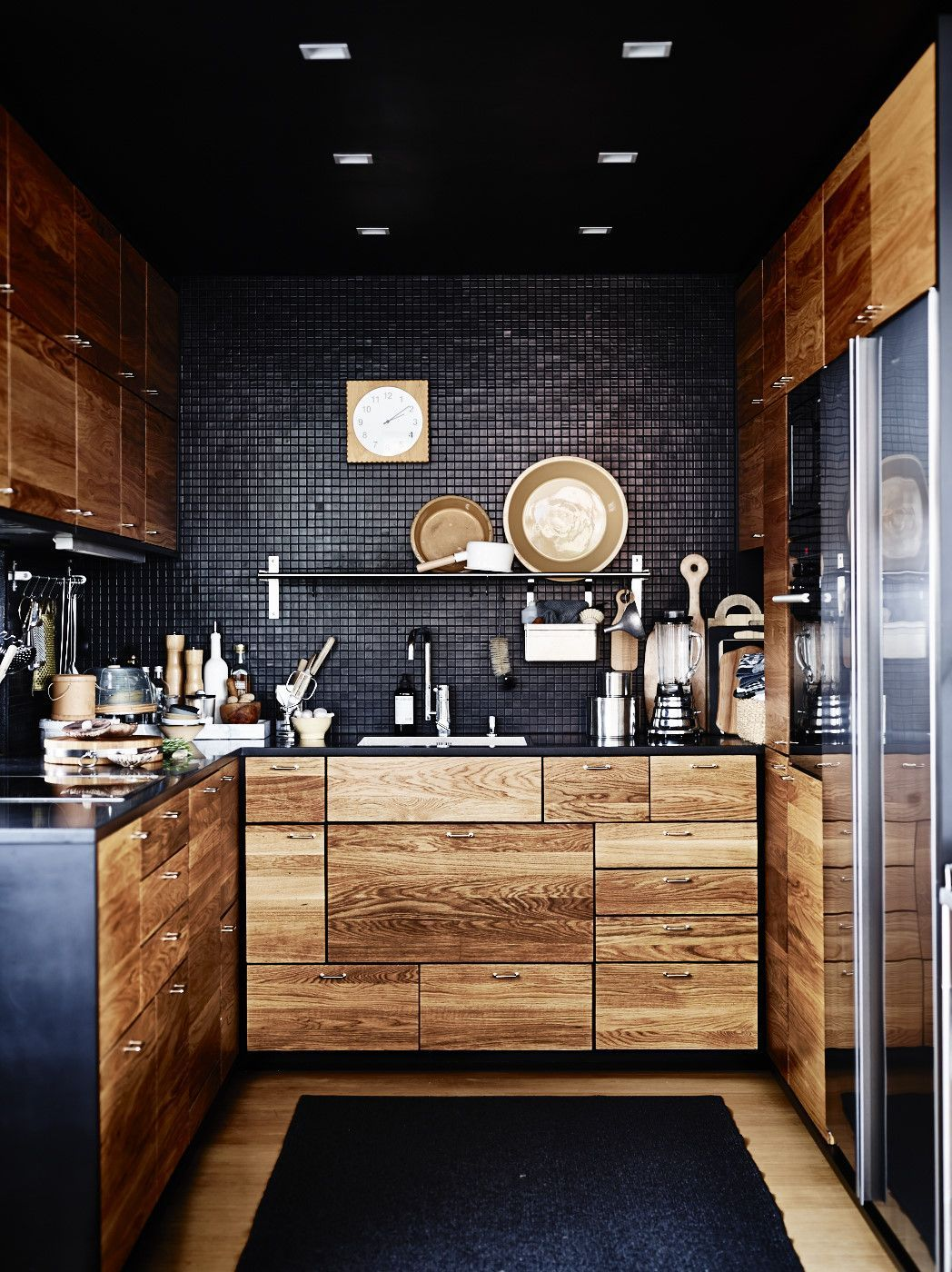 Color Spotlight Add Drama With Black Gloss  Fireclay Tile Design Delectable Modern Wooden Kitchen Designs Inspiration Design