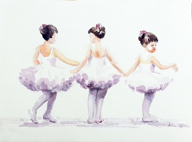 Free Shipping Three little Ballerinas Ballet Art Ballerina ...