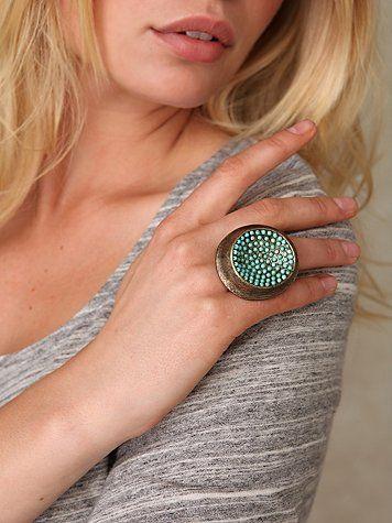 rebel Turquoise Dot Disc Ring