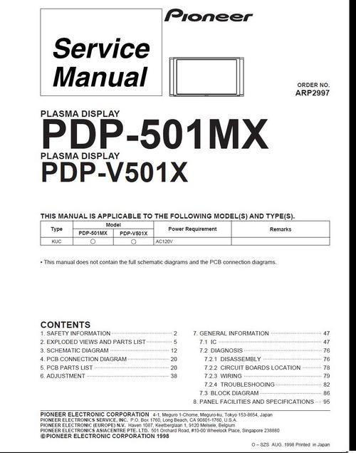 Pioneer PDP-V501X Kuro Plasma TV , Service Manual in 2019 | Pioneer