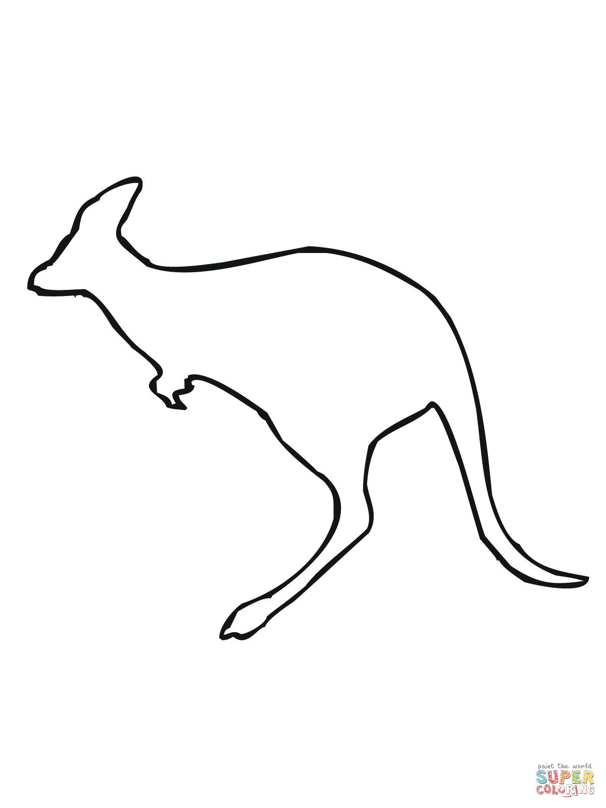 leaping kangaroo outline coloring page supercoloring com tats