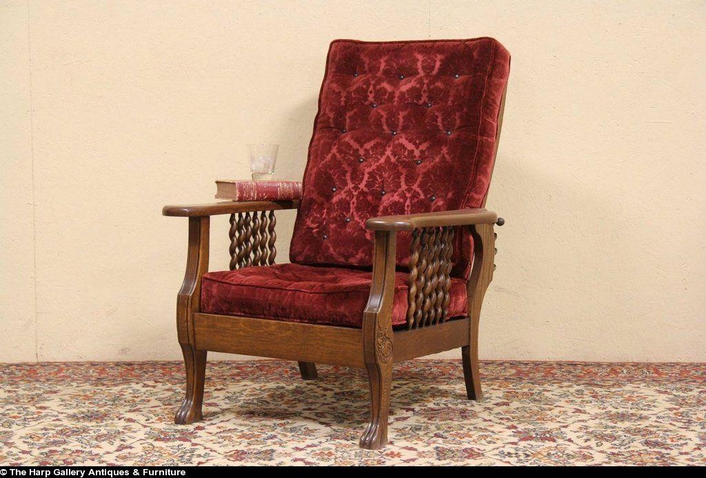 Antique 1900 Oak Recliner Chair